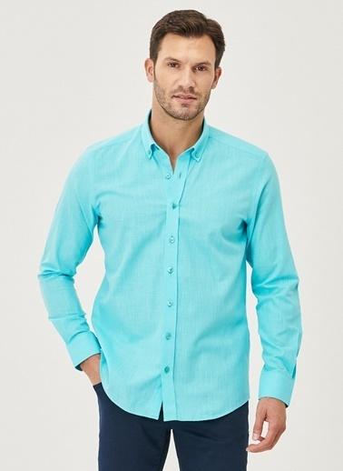 AC&Co / Altınyıldız Classics Tailored Slim Fit Dar Kesim Düğmeli Yaka %100 Koton Gömlek 4A2021200056 Turkuaz